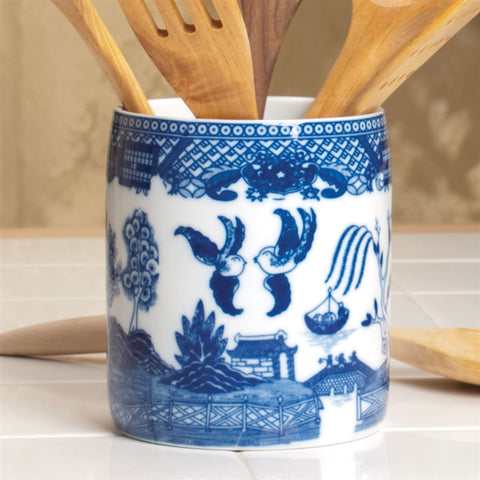 Blue Willow Utensil Holder