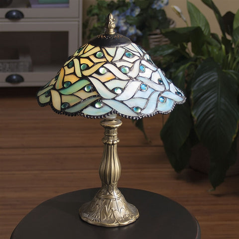 Blue Waves Stained Glass Lamp