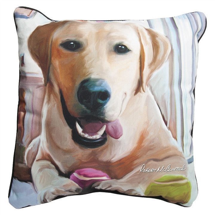 Tennis Anyone Yellow Lab Pillow