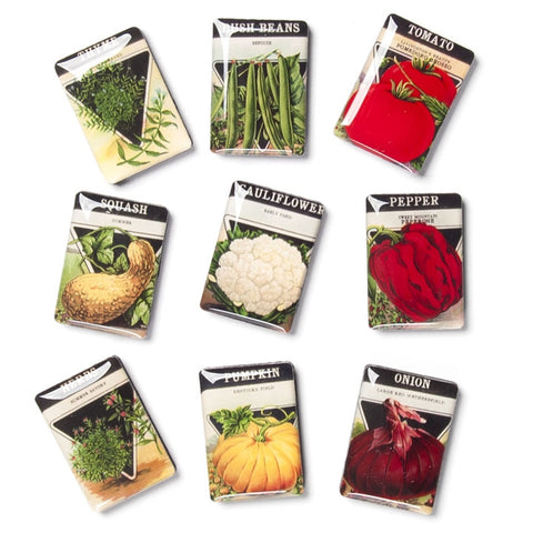 Vintage Seed Packet Magnets, Set of 9