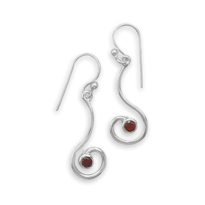 Garnets in Silver Earrings