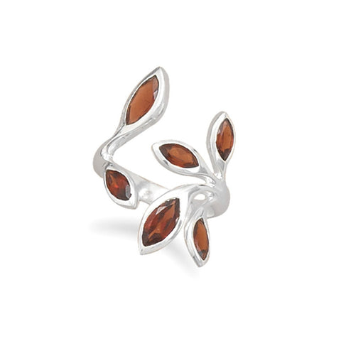Garnet Leaves Wrap Ring