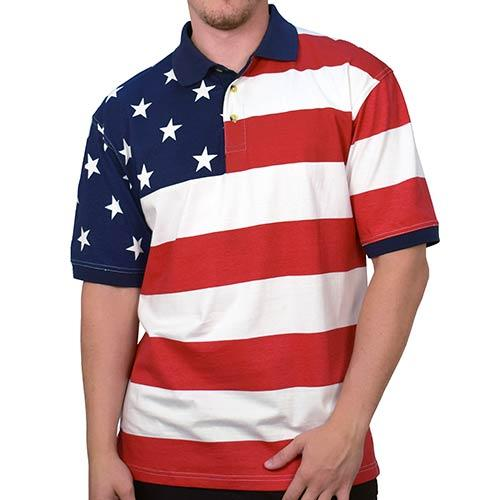 Horizontal American Flag Patriotic Mens Polo Shirt