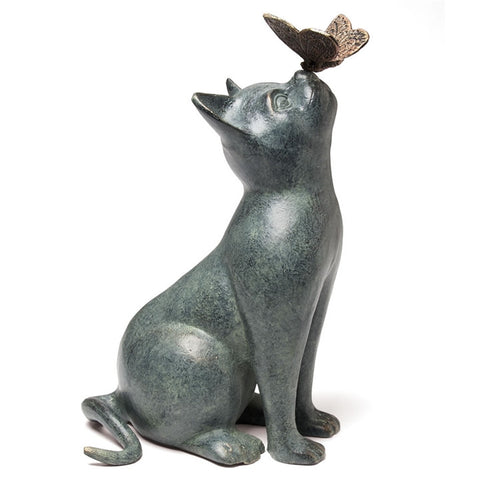 Curiosity Cat and Butterfly Figurine