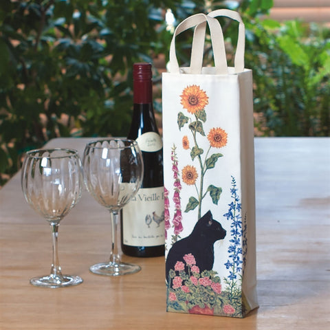 Wildflowers & Cat Wine Bag