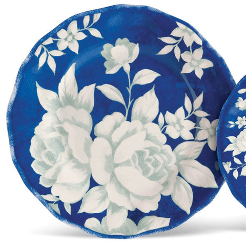 Blue Floral Dinner Plates, Set of 4