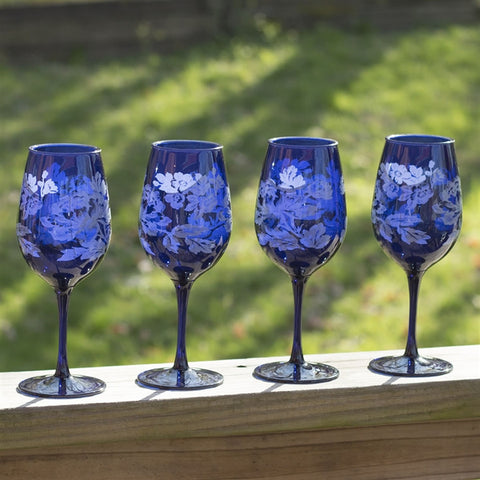 Blue Floral Acrylic Wine Glasses, Set of 4
