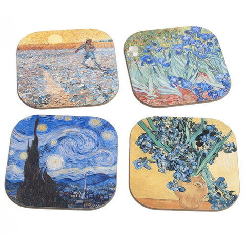 Van Gogh Paintings Coasters Set With Stand