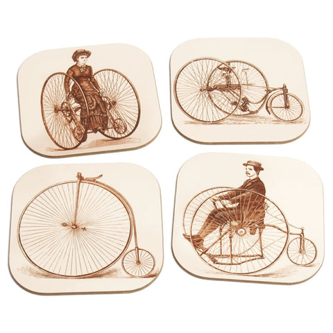 Vintage Bicycle Coasters Set With Stand