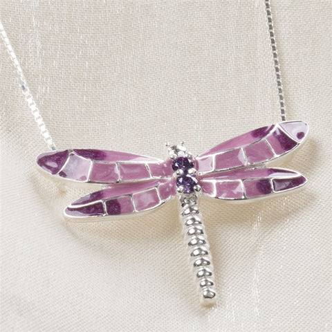Sterling & Enamel Dragonfly Necklace