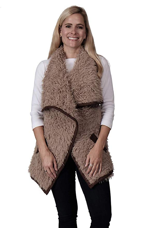 Ladies Fashion Ruana Knit Vest - FP60299-BB at Linda Anderson