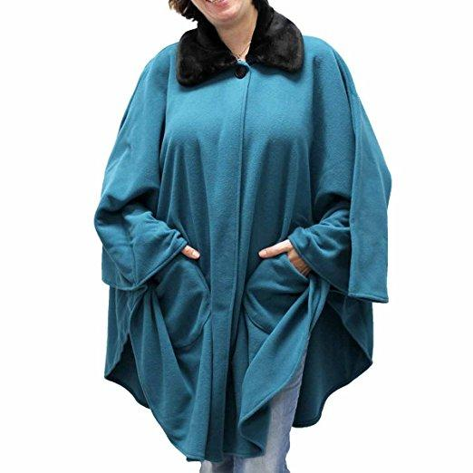 Fleece Cape One Size Teal Green at Linda Anderson