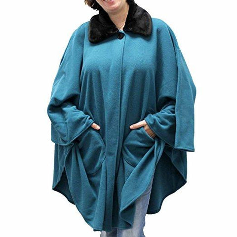 Fleece Cape One Size Teal Green