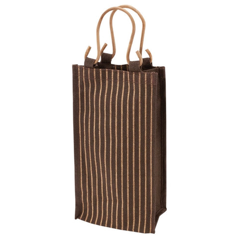 Chocolate & Gold Jute 2-Bottle Wine Tote