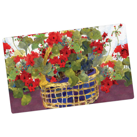 Geraniums Basket Welcome Mat