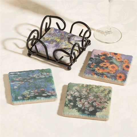 Monet's Flowers Tumbled Tile Coasters
