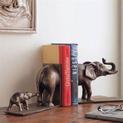 Elephant & Baby Bookends