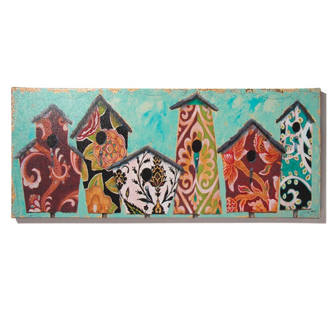 Birdhouses Weatherproof Canvas Art (NB)