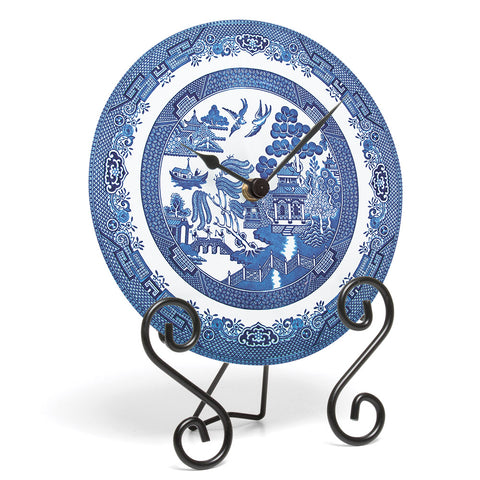 Blue Willow Glass Clock