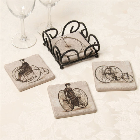 Vintage Bicycle Tumbled Tile Coasters