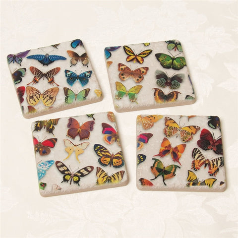 Bright Butterflies Tumbled Tile Coasters