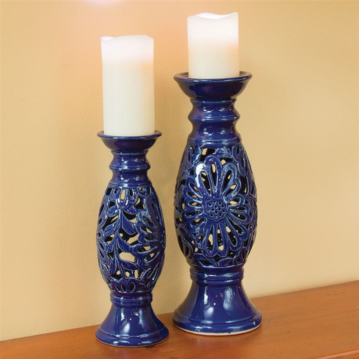 Indigo Glazed Cut-Out Candlestick Pair (NB)