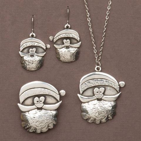 Cornish Pewter Santa Earrings