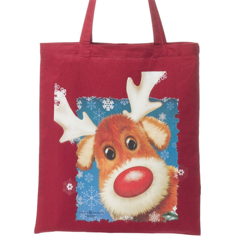Red Nosed Reindeer Cotton Tote
