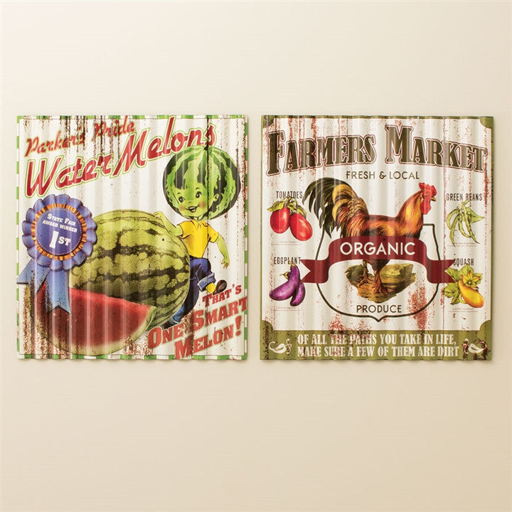 Farmer's Market Corrugated Metal Signs, Set of 2