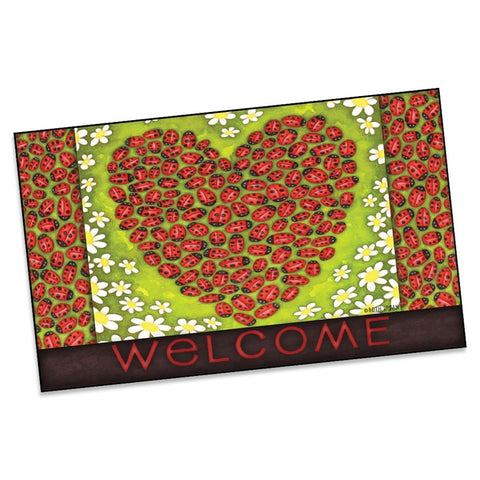 Ladybug Heart Welcome Mat (NB)