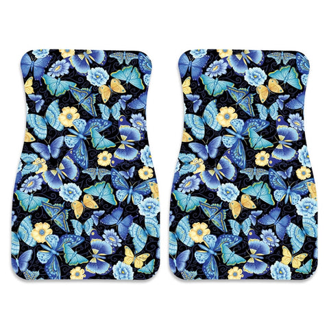 Blue Butterflies Car Mat Pair