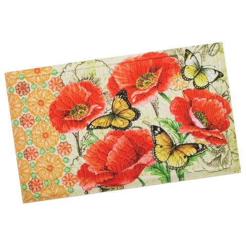 Butterflies & Poppies Embossed Door Mat