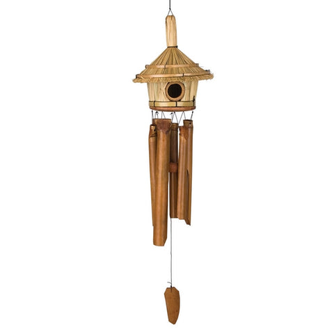 Thatched Bamboo Birdhouse Wind Chime