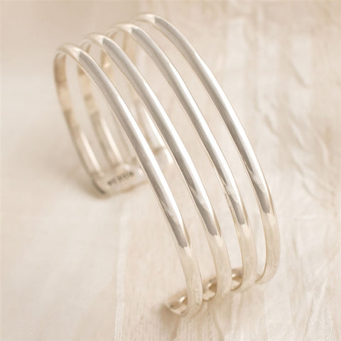 4-Row Sterling Silver Cuff Bracelet (NB)