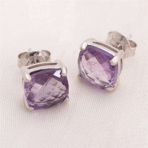 Cushion Cut Amethyst Stud Earrings (NB)
