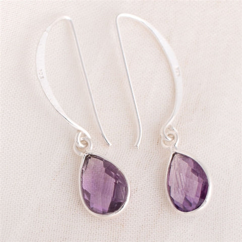 Pear Drop Amethyst Earrings (NB)
