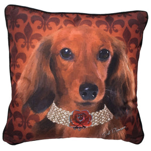 Penny the Red Doxie Pillow at Linda Anderson