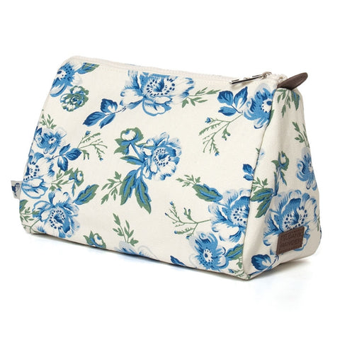 Vintage Floral Canvas Cosmetic Pouch