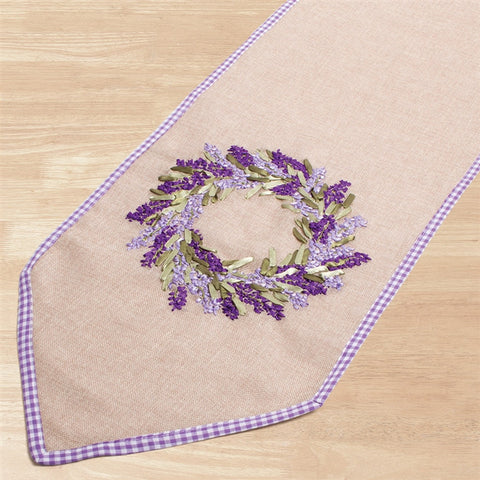 Lavender on Linen Table Runner