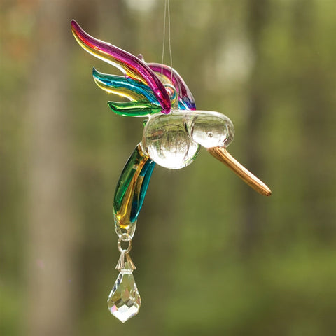 Glass Hummingbird Suncatcher