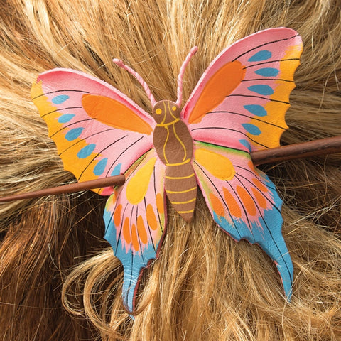 Butterfly Painted Leather Hair Slide (NB)