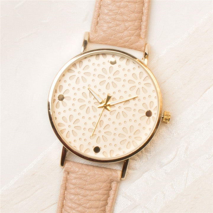 Cream & Gold Daisies Watch
