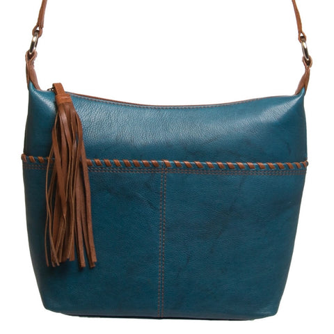 Whipstitched Leather Cross Body Hobo
