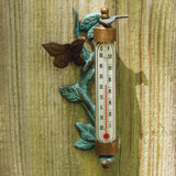 Brass Vine & Butterfly Indoor/Outdoor Thermometer