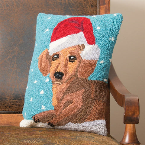 Dachshund in Santa Hat Hooked Wool Pillow (NB)