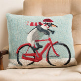 Penguin on a Bicycle Wool Pillow