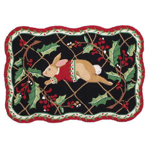 Happy Holidays Rabbit Run Wool Rug