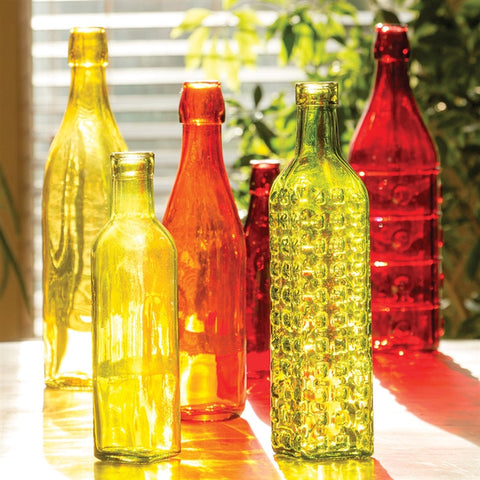 Brightly Colored Glass Bottles, Set of 6