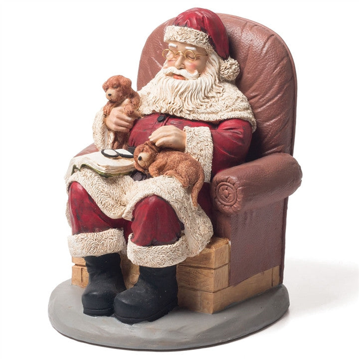 Snoozing Santa With Puppies Figurine
