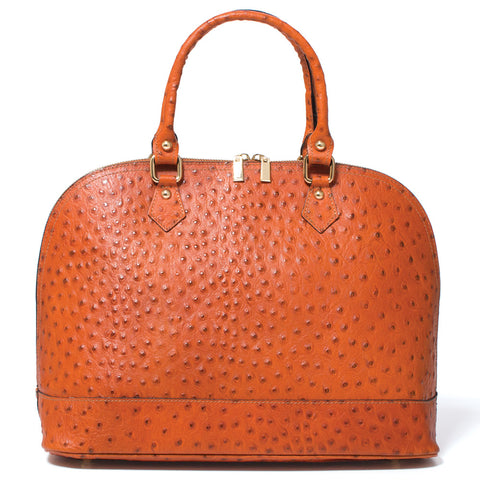 Saddle Domed Ostrich Leather Handbag (NB)